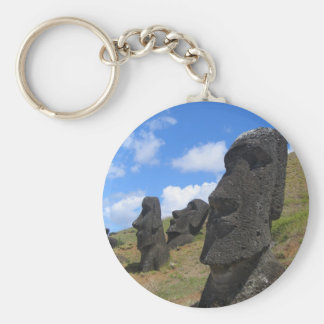 Moai on Easter Island Basic Round Button Keychain