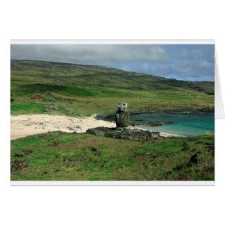 Moai statue Anakena Beach Rapa Nui Easter Island Card
