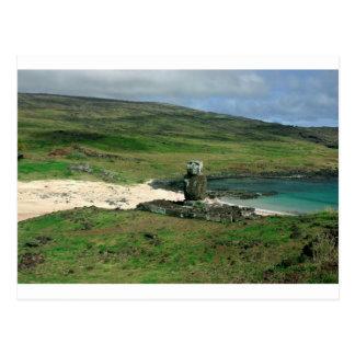 Moai statue Anakena Beach Rapa Nui Easter Island Postcard