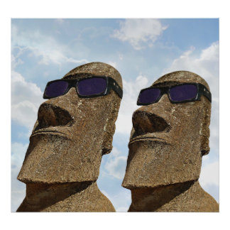 Moai with Sunglasses - Poster