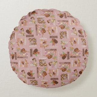 Moana & Kakamora Vintage Pattern Round Pillow