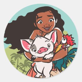 Moana   Pua & Heihei - Voyagers Classic Round Sticker