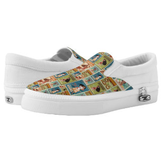 Moana | Retro Poster Pattern Slip-On Sneakers