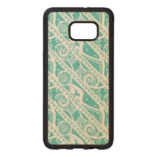 Moana   Teal Aztec Pattern Wood Samsung Galaxy S6 Edge Case
