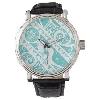 Moana | Teal Tribal Pattern Wrist Watches