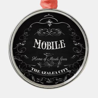 Mobile, Alabama - Home of the Mardi Gras Silver-Colored Round Ornament