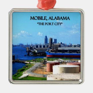 MOBILE, ALABAMA - The Port City Silver-Colored Square Ornament