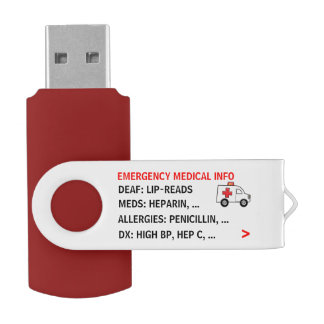 Mobile Emergency Medical Info (Personalized) USB Flash Drive