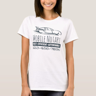 Mobile Notary Public Fast Car with Phone Number T-Shirt
