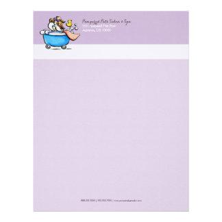 Mobile Pet Groomer Shih Tzu Purple Letterhead Template