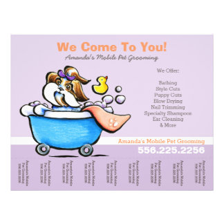 Mobile Pet Groomer Shih Tzu Purple Tear Sheet