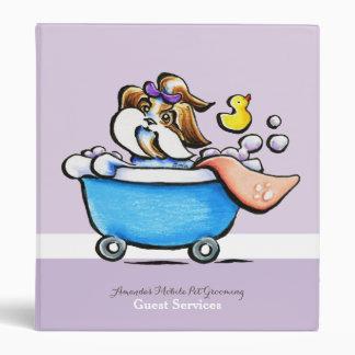 Mobile Pet Grooming Guest Guide Shih Tzu Purple 3 Ring Binder