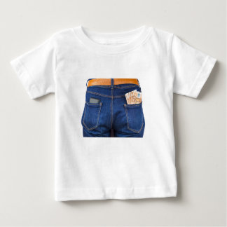 Mobile phone and euro money in blue jeans baby T-Shirt