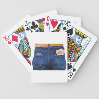 Mobile phone and euro money in blue jeans bicycle playing cards