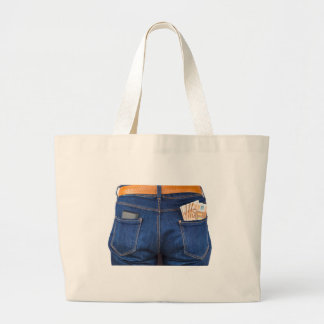 Mobile phone and euro money in blue jeans large tote bag