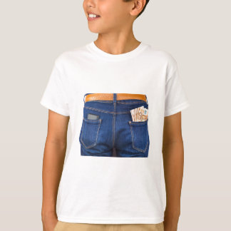 Mobile phone and euro money in blue jeans T-Shirt