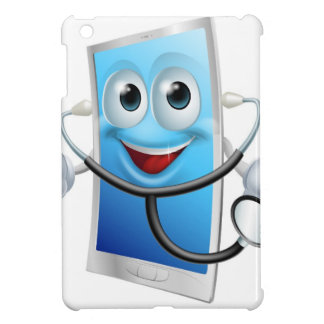 Mobile phone character holding a stethoscope iPad mini covers