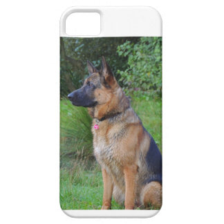 Mobile phone covering German shepherd dog iPhone 5 Case