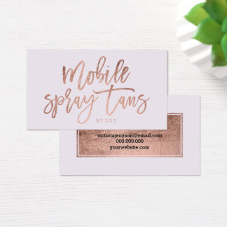 Mobile Spray tans logo rose gold typography lilac Business Card