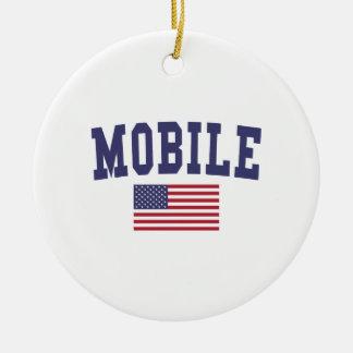 Mobile US Flag Round Ceramic Ornament