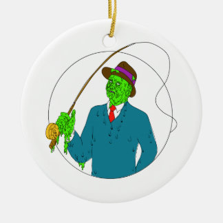 Mobster Fisherman Fly Rod Reel Grime Art Ceramic Ornament