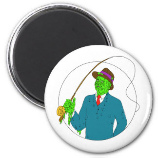 Mobster Fisherman Fly Rod Reel Grime Art Magnet