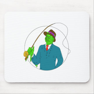 Mobster Fisherman Fly Rod Reel Grime Art Mouse Pad