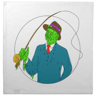 Mobster Fisherman Fly Rod Reel Grime Art Napkin