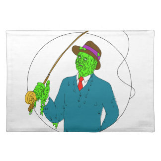 Mobster Fisherman Fly Rod Reel Grime Art Placemat