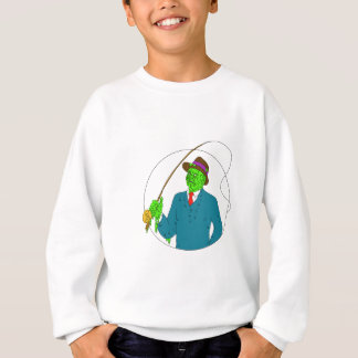 Mobster Fisherman Fly Rod Reel Grime Art Sweatshirt
