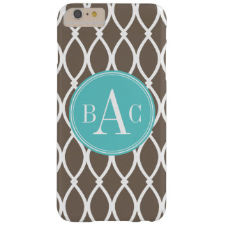 Mocha and Aqua Monogrammed Barcelona Print Barely There iPhone 6 Plus Case