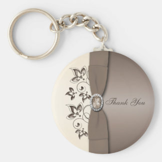 Mocha and Ivory Floral Keychain