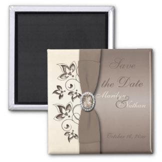 Mocha and Ivory Floral Wedding Favor Magnet