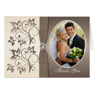 Mocha and Ivory Photo Thank You Card