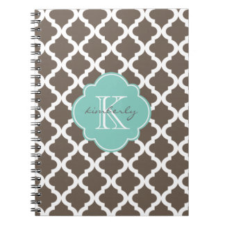 Mocha and Mint Moroccan Quatrefoil Print Spiral Notebook