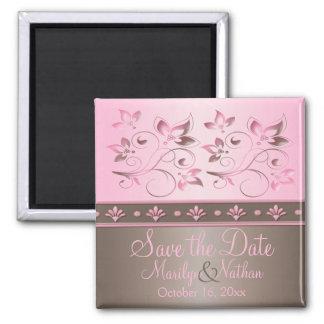 Mocha and Pink Floral Wedding Favor Magnet