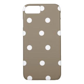 Mocha brown and White Polka Dot Phone Case