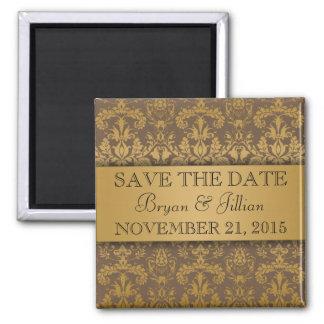 Mocha Brown & Gold Regal Damask Save the Date Square Magnet