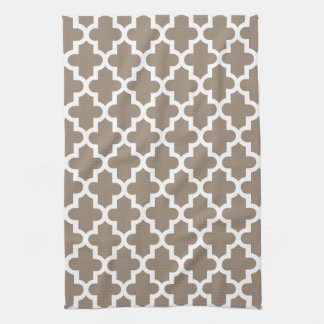 Mocha Brown Modern Moroccan Pattern Kitchen Towel