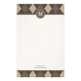 Mocha Chocca Argyle Plaid Monogram Stationery