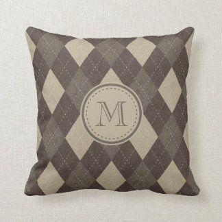 Mocha Chocca Brown Argyle Pattern with Monogram Throw Pillow