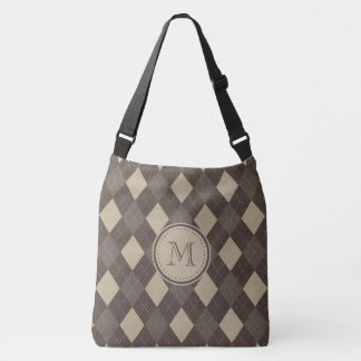 Mocha Chocca Brown Argyle Plaid with Monogram Crossbody Bag