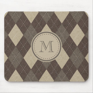 Mocha Chocca Brown Argyle Plaid with Monogram Mouse Pad