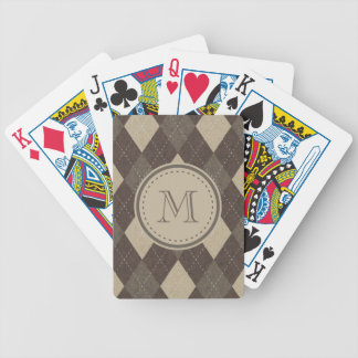 Mocha Chocca Brown Argyle with Monogram Bicycle Playing Cards