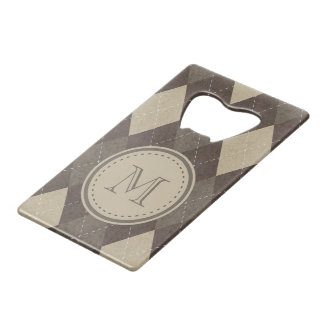 Mocha Chocca Brown Argyle with Monogram Credit Card Bottle Opener