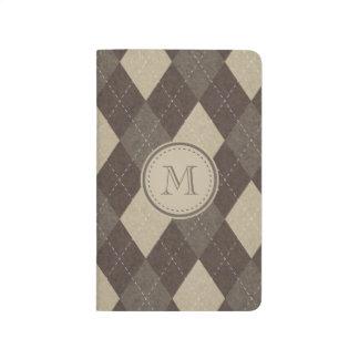 Mocha Chocca Brown Argyle with Monogram Journals