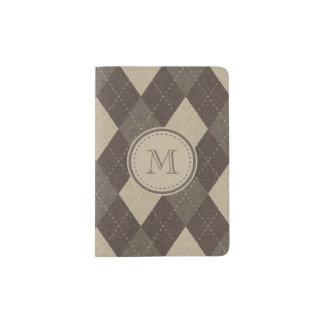 Mocha Chocca Brown Argyle with Monogram Passport Holder