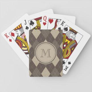 Mocha Chocca Brown Argyle with Monogram Poker Deck
