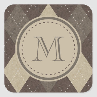 Mocha Chocca Brown Argyle with Monogram Square Sticker