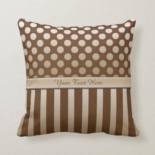 Mocha Chocolate Polka Dot Ribbon Throw Pillow
